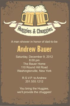 Vintage HUGGIES & CHUGGIES bbq, beer and babies Diaper Party Invitation Printable diy Customizable. $15.00, via Etsy.