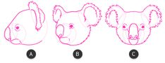 koala how to draw head 7 Trippy Drawings, Cartoon Drawings, Animal Drawings, Koala Illustration, Character Illustration, Koala Tattoo, Animal Activities, Australian Animals, Scroll Saw Patterns