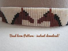 Beaded loomwork hatband pattern, horse beadwork design, beadloom pattern, lanyard pattern, bead loom work pattern, Instant download ! This is a chart to make a beaded loom work hat band, but this is a versatile pattern also works well for choker necklaces, lanyards, belts and bracelets. This design may be made in a variety of colors. The instructions to do beaded loomwork are not included in this file, but are generally supplied with bead looms if you are a novice - its very easy and fun to…