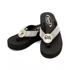 Rhinestone Accent Comfortable Platform Flip Flop Sandals with Bling -Circle (Size 7) (Apparel)