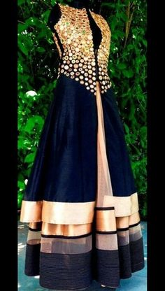 Check out this post - 'Mirror work dress.' by Heena Verma ( and other interesting posts by lakhs of people on Roposo TV Anarkali Dress, Pakistani Dresses, Indian Dresses, Indian Outfits, Western Dresses, Indian Attire, Indian Wear, Kurta Designs, Blouse Designs