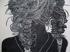 each and every strand : Lisa Toth. After the Swim. woodblock print.