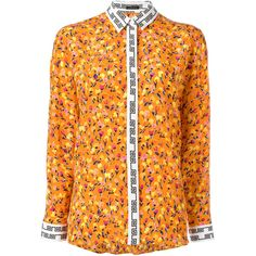Versace floral print shirt (29.705 RUB) ❤ liked on Polyvore featuring tops, oversized long sleeve shirt, silk shirt, floral shirts, oversized button-down shirts and silk button-down shirts