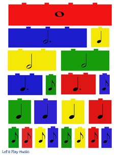 Lego Beats Music Manipulatives - Let's Play Music Elementary Music Lessons, Music Lessons For Kids, Music Lesson Plans, Music For Kids, Elementary Schools, Music Math, Preschool Music, Music Activities, Music Classroom