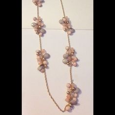 New gold colored long necklace New long necklace with bead bunches of light pastel colors Jewelry Necklaces
