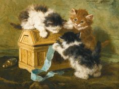 Henriëtte Ronner-Knip  DUTCH  1821-1909  THREE KITTENS WITH A CASKET AND BLUE RIBBON  Estimate: 18,000 - 25,000 GBP  LOT SOLD. 30,000 GBP (Hammer Price with Buyer's Premium)  signed and dated Henriette Ronner / 94 upper right  oil on panel  27 by 35cm., 10¾ by 13¾in
