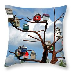 "Bird House Village 14"" x 14"" Throw Pillow by Sue Melvin.  Our throw pillows are made from 100% cotton fabric and add a stylish statement to any room.  Pillows are available in sizes from 14"" x 14"" up to 26"" x 26"".  Each pillow is printed on both sides (same image) and includes a concealed zipper and removable insert (if selected) for easy cleaning."
