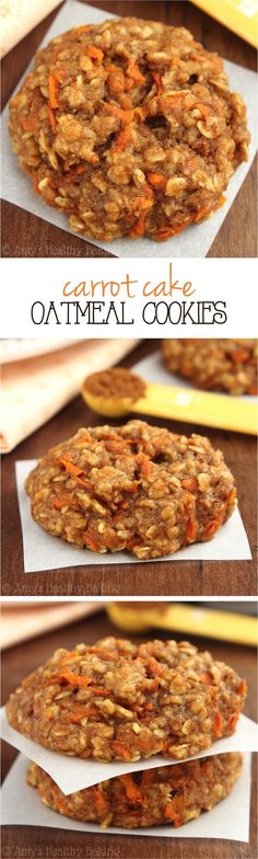 Rob LOVES oatmeal cookies AND carrot cake! Can't wait to bake these for him! Clean-Eating Carrot Cake Oatmeal Cookies -- these skinny cookies don't taste healthy at all! You'll never need another oatmeal cookie recipe again! Healthy Sweets, Healthy Baking, Healthy Snacks, Healthy Recipes, Healthy Cookies, Carrot Recipes, Eating Healthy, Oatmeal Recipes, Epicure Recipes