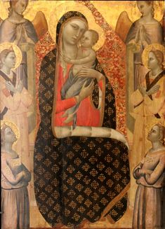 Allegretto Nuzi, The Virgin in Majesty Surrounded by Six Angels (detail), (Musée du Petit Palais, Avignon) Religious Icons, Religious Art, Symbolic Art, Medieval, Italian Paintings, High Renaissance, Madonna And Child, Italian Art, African Art