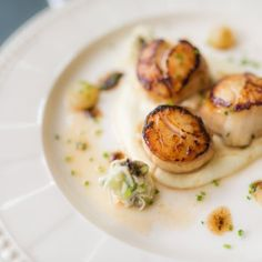 A cool yogurt dressing perfectly contrasts Bill Granger& spiced carrot fritters and simple seared scallops Shellfish Recipes, Seafood Recipes, Seafood Meals, Dinner Recipes, Crab Dishes, Entree Dishes, Good Food Channel, Judith, Gastronomia