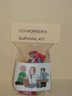 CO-WORKERSS SURVIVAL KIT    This kit contains all the items that can bring a little laughter to any of your co-workers.      Picture 1 shows the