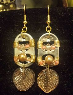 Dangling can tab earrings. Wire wrapped, pearls & glass leaf. Classic creation.