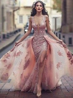 Sexy Low Back Dusty Pink Flowy Lace Tight Prom Dress with Detachable Train 20081615
