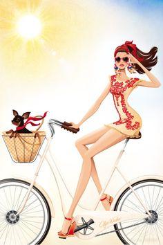 Olga Weber, Pippa McManus and Spiros Halaris Illustration Interview about Dolce and Gabbana projects Love Fashion, Fashion Art, Girl Fashion, Fashion Design, Amy Brown, Dolce & Gabbana, Moda Chic, Bicycle Art, Illustration Sketches