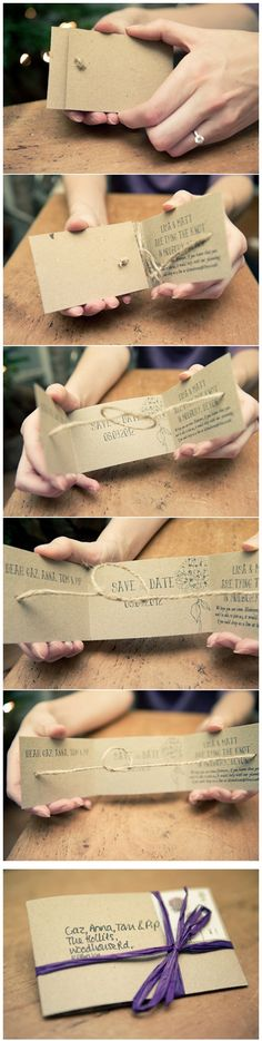 "thenaturalweddingcompany. DIY ""Tie the Knot"" Save the Dates"
