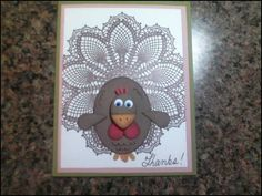 Hello Doily Turkey by RenaKay - Cards and Paper Crafts at Splitcoaststampers Diy Holiday Cards, Fall Cards, Doily Art, Turkey Craft, Thanksgiving Cards, Kid Activities, Card Tags, Homemade Cards, Stampin Up Cards