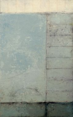 """Graceann Warn, Soundings #2 , 2013 56 """" x 36 """" x 1 """" Oil, encaustic and paper on wood panel"""