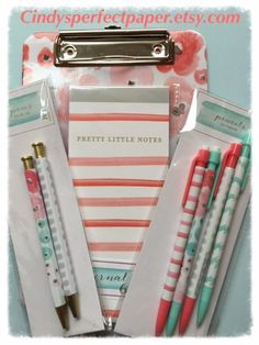 Watercolor Clip Board, Note Pad, Pens and Pencils Set from Target dollar spot