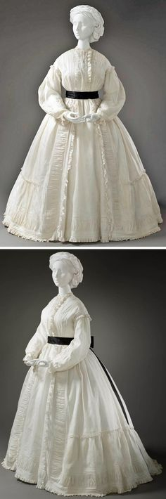 Morning dress, European, ca. 1865. Cotton muslin. Los Angeles County Museum of Art Wrapper with Matching Petticoat http://collections.lacma.org/node/214441