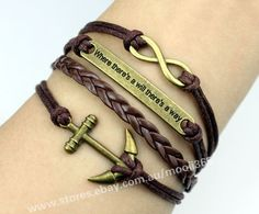 Antique bronze infinity anchor bracelet,brown wax rope woven rope jewelry gift