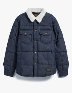 From Neighborhood, an overshirt in Indigo. Pointed collar. Full snap button front closure. Branded buttons. Two chest pockets with flap and snap button closures. Two on-seam zip pockets. Western back yoke. Neighborhood branded patch. Shirttail hem. Fully