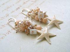 Real Starfish Dangle Earrings Pink Pearl by BellaAnelaJewelry, $50.00