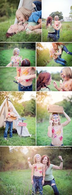 This session features a mom and her son having an all out war . . . a PAINT WAR!!!!     ©Regina Richards Photography