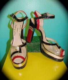 Vintage 1970s Terry de Havilland Platforms • RARE Clear Vinyl Silver Black and Red Peep Toe Heels