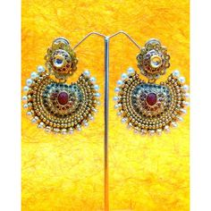 Ethnic Kundan like Earrings with Pearls by ADIVA A74