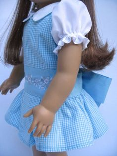 American Girl sized Doll Dress Blue Gingham Two by MyAngieGirl