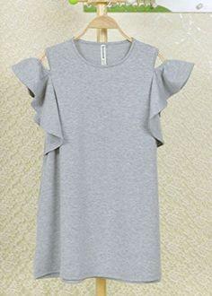 Amazon.co.jp: 超 かわいい オープンショルダー ラッフルスリーブ ミニワンピ スウェット生地 シンプル ワンピース ドレス: 服&ファッション小物通販