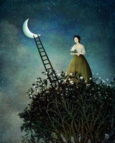 Surreal scenes, digital art by Christian Schloe - 8 - Pelfind Art And Illustration, Art Fantaisiste, Illustrator, Creation Photo, Midnight Garden, Psy Art, Magritte, Wassily Kandinsky, Moon Art