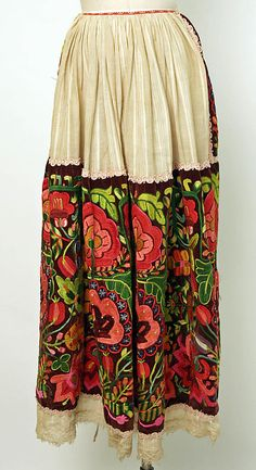Apron, 20th century, European, Eastern, linen, silk