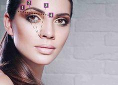 die richtige Länge, Augenbrauenbogen und Winkel präzise ausmessen
