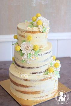 rustical wedding cake - naked Cake with white roses, chamomile, yellow craspedia