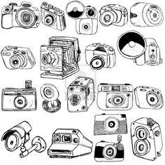 Gran colección de dibujo diferente cámara de fotos sobre fondo blanco Foto de archivo - 16268652