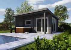 Garage Doors, Outdoor Decor, Modern, Home Decor, Tiny Home Designs, Home And Garden, Roof Styles, Trendy Tree, Decoration Home