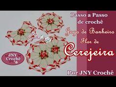 PAP Tapete de crochê Jogo de Banheiro Flor de Cerejeira por JNY Crochê - YouTube