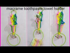 How to make macrame toothpaste,napkin holder simple design. K Crafts, Hanging Flower Wall, Macrame Design, Towel Holder, Simple Designs, Crochet Necklace, Napkins, Unique, Elsa