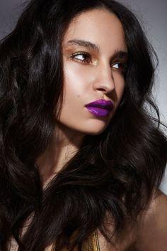#bold #purple #lip #neutral #metallic #eye