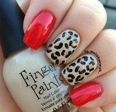 Red & cheetah print nail
