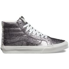 Vans Disco Python SK8-Hi Slim ($70) ❤ liked on Polyvore featuring shoes, sneakers, shoes - sneakers, silver, disco shoes, lacing sneakers, vans trainers, high top shoes and vans sneakers