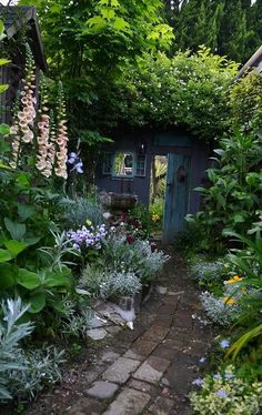 Artistic garden designers understand the power of a pop of light color against a rich backdrop of dark green foliage. I also love the sage-green plants that lead the eye along the pathway towards the enticing doorway. pendragon gardens
