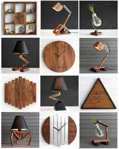 Authentic wood inventions by These are all made by hand in their workshop in Bulgaria. Wooden Clock, Wooden Lamp, Wooden Pallet Furniture, Woodworking Furniture, Wall Clock Design, Coffee Shop Design, Diy Clock, Wooden Projects, Handmade Wooden