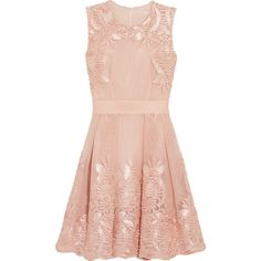 Maje Reason embroidered mesh dress (€220) ❤ liked on Polyvore featuring dresses, pastel pink, mesh dress, maje dress, loose fit dress, pleated dress and maje