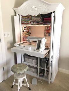 DIY sewing cabinet from an old media cabinet - Hausideen - Diy Furniture Craft Cabinet, Sewing Cabinet, Craft Armoire, Tv Armoire, Cabinet Storage, Storage Shelves, Sewing Room Organization, Craft Room Storage, Craft Rooms