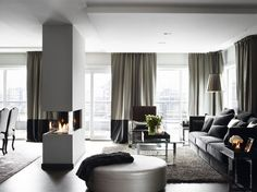 Transitional. Black and greys. Interiors
