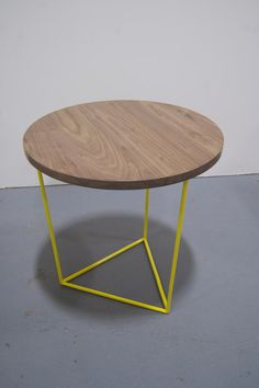 Modern Side Table with Round Walnut Top and by PWHFurniture