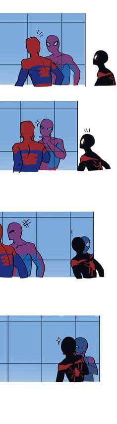 Spiderman, Peter Parker and Miles Morales. Marvel Dc Comics, Marvel Avengers, Marvel Funny, Marvel Art, Marvel Memes, Funny Comics, Marvel Universe, All Spiderman, Mini Comic