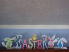 Easter Decor Wood Letters with Easter Eggs, Chicks and Bunny Trio, Easter & Spring Crafts